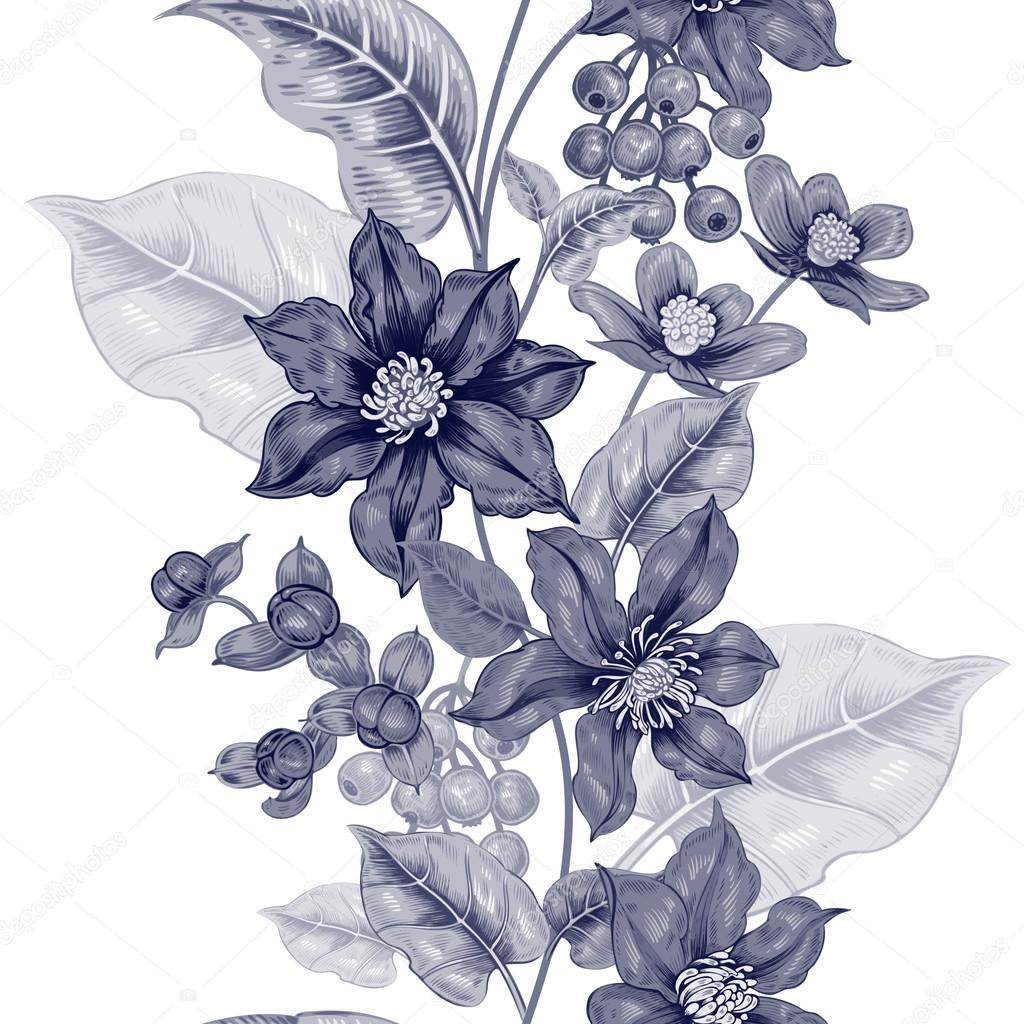 Black and white pattern with flowers clematis.