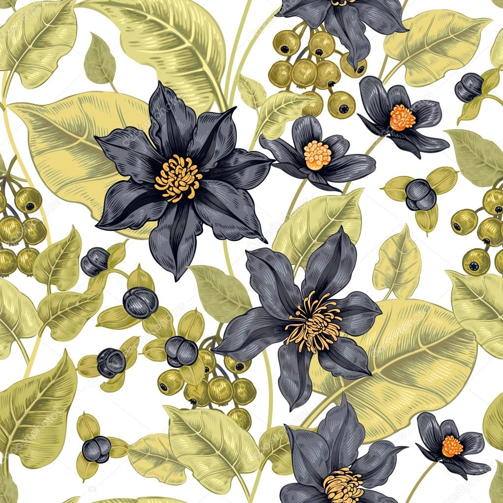 Seamless pattern with flowers clematis.