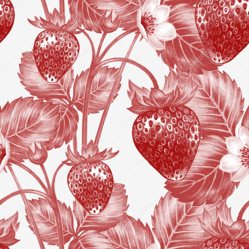 Vector seamless pattern with flowers and strawberries