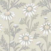 Vector seamless pattern with flowers of chamomile.