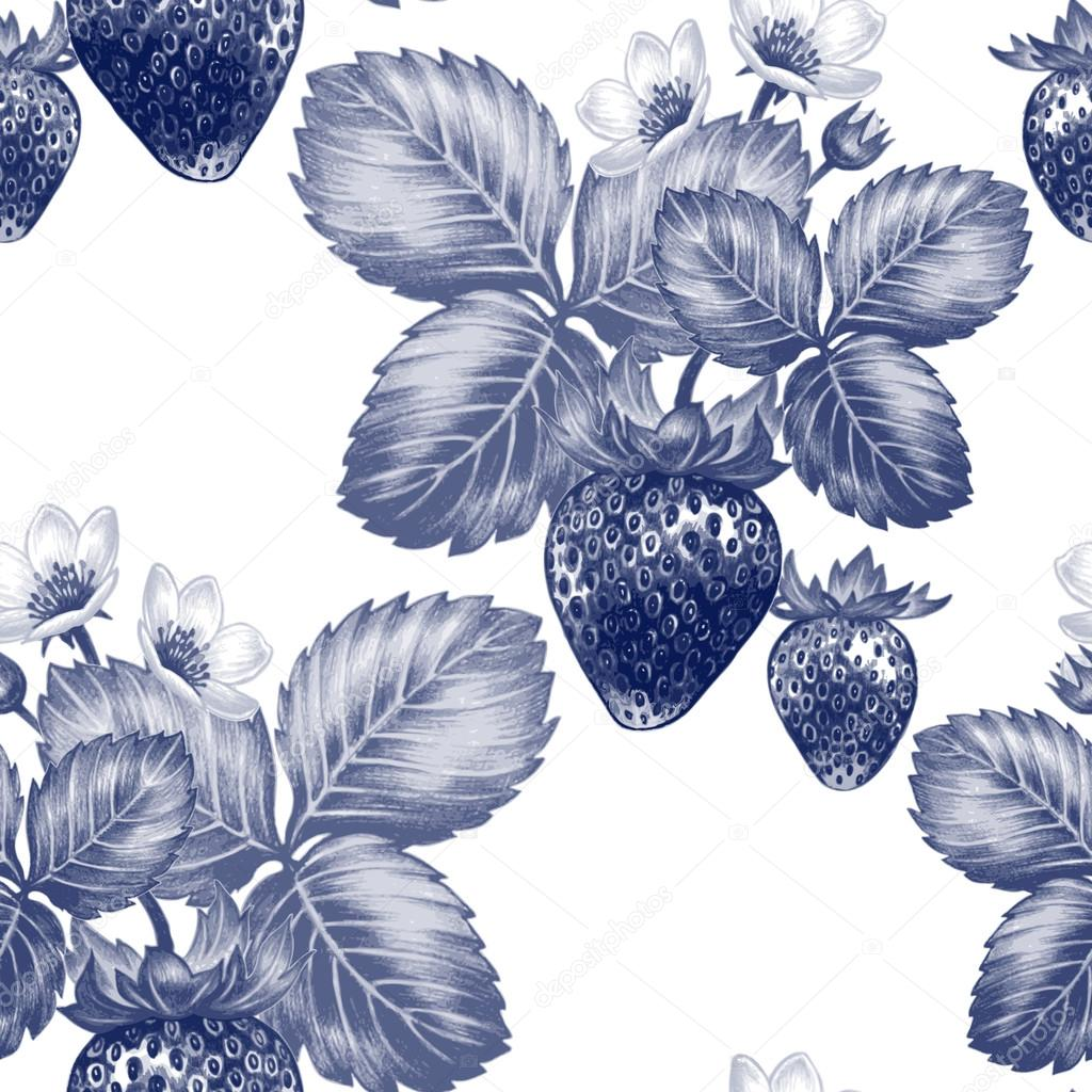 Vector seamless pattern with flowers and strawberries.
