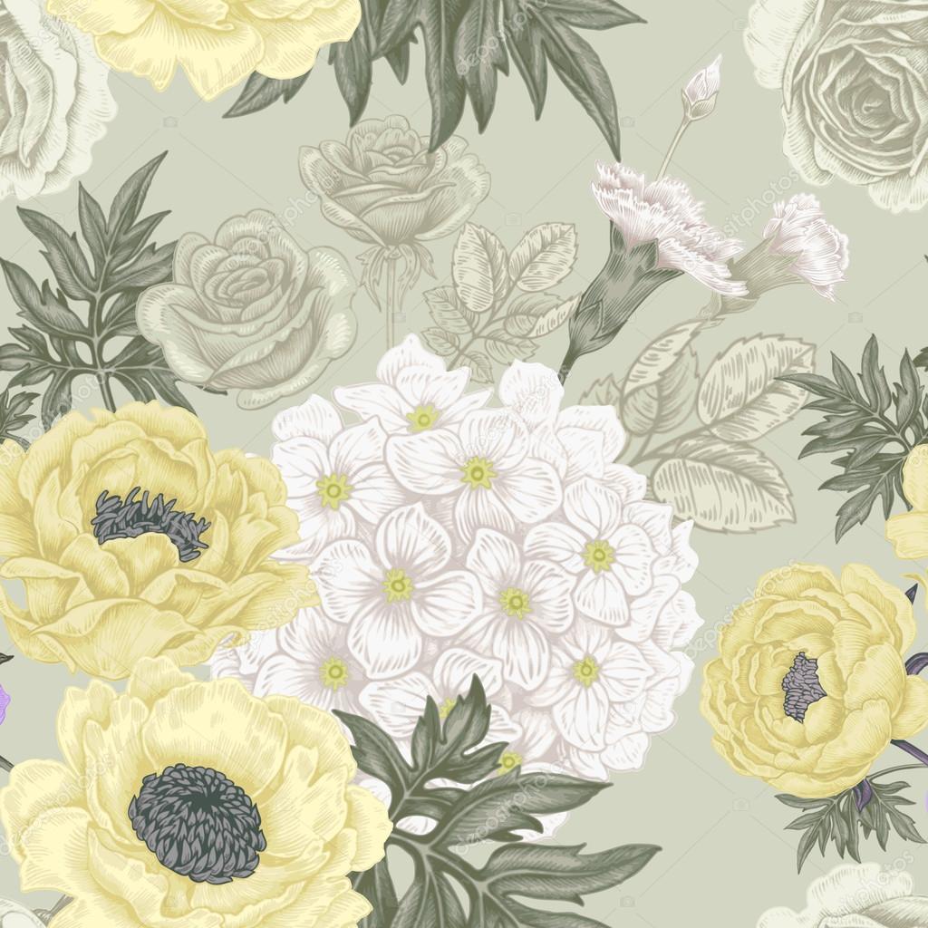 Seamless pattern with flowers roses, peonies, hydrangeas, carnat