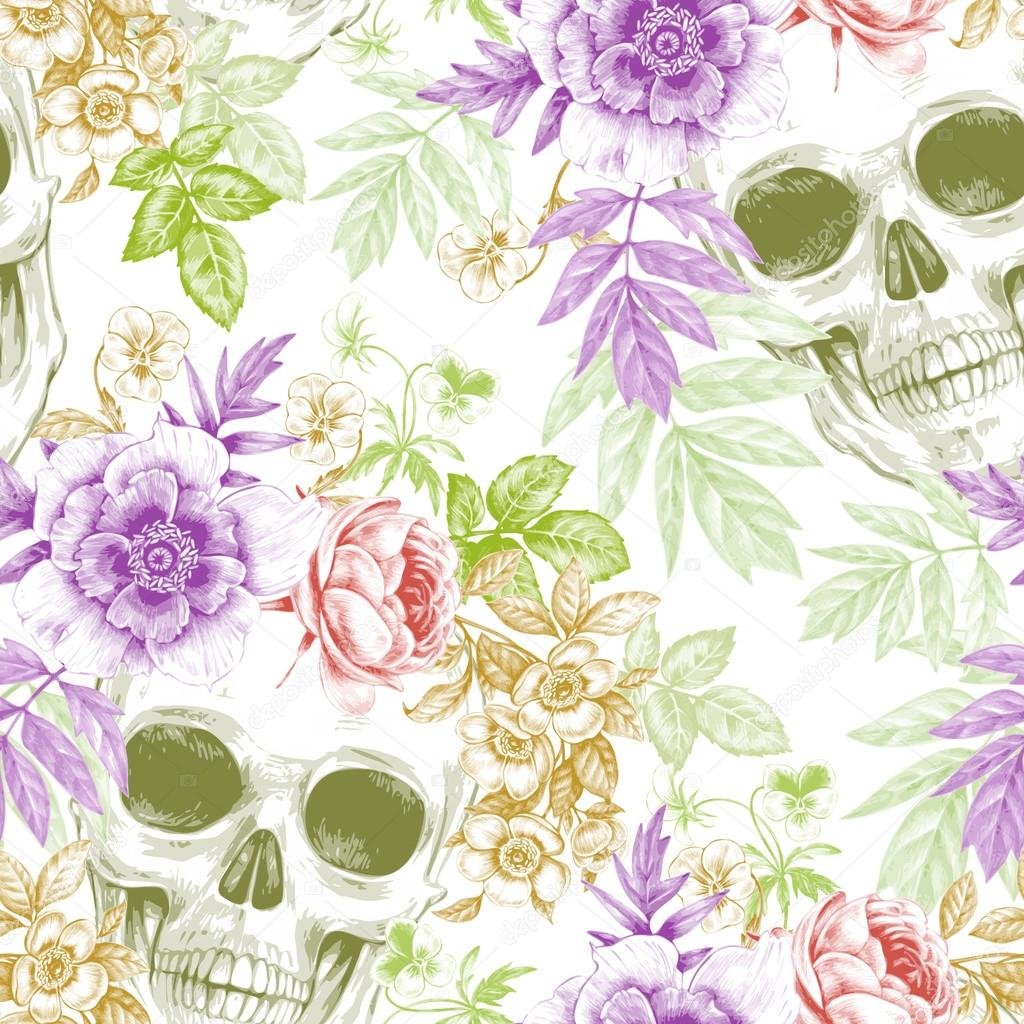 Seamless background with flowers and skulls.