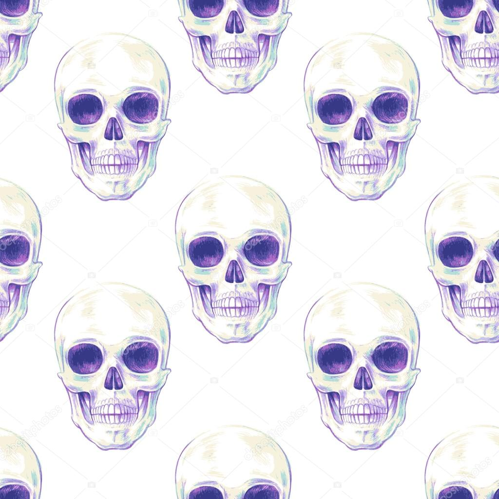 Seamless vector pattern with skulls.