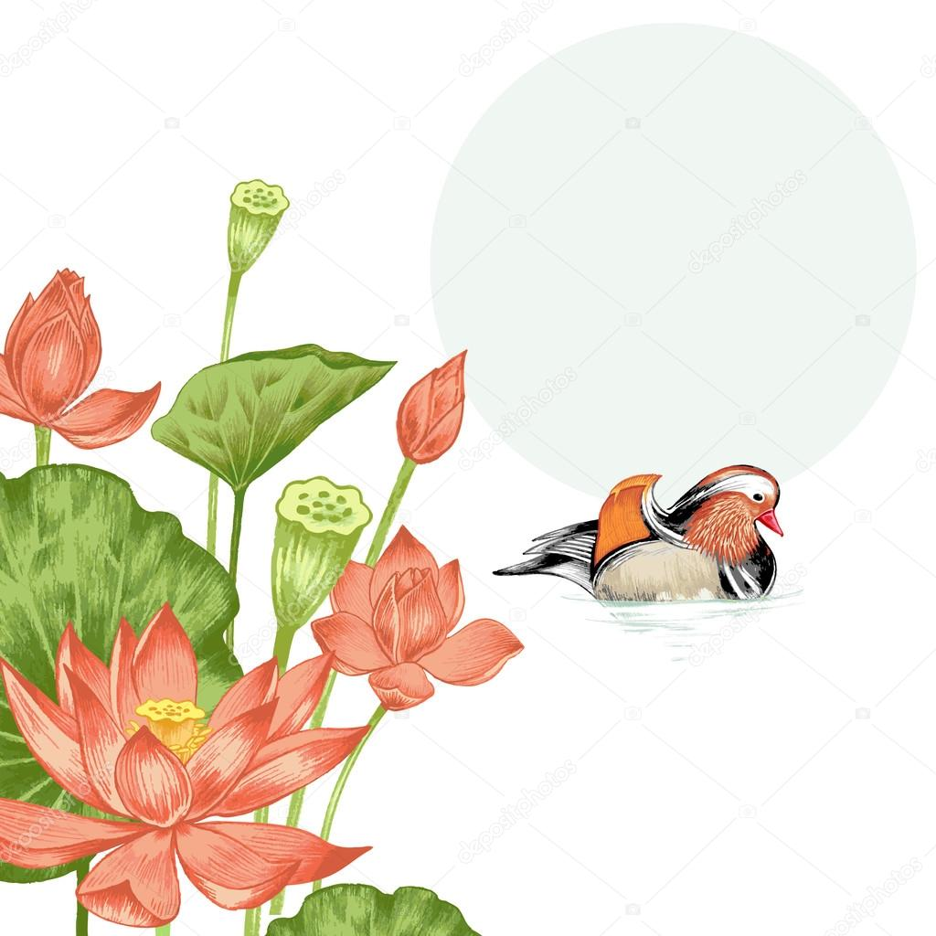 Illustration with exotic flowers and mandarin duck.