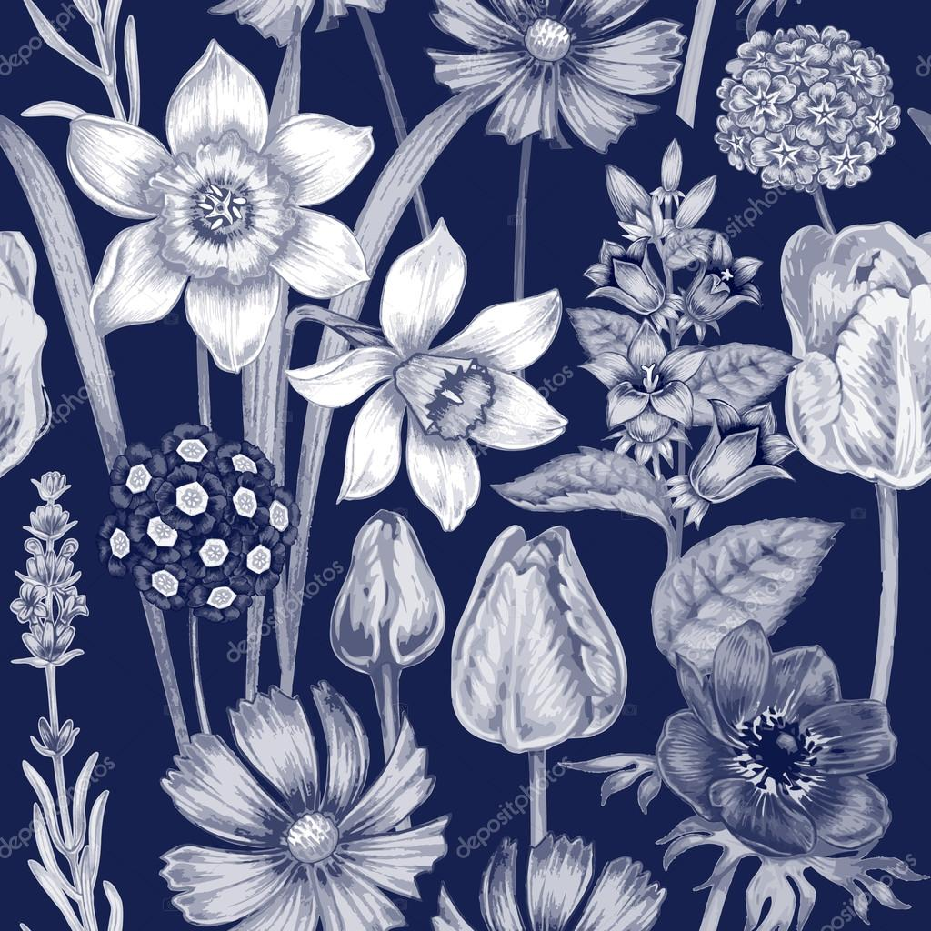 Flower seamless pattern with garden flowers.