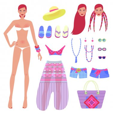 Sweet girl and set of beachwear and accessories. Vector illustration of a set designer to create different images on the theme of summer clothes. stock vector