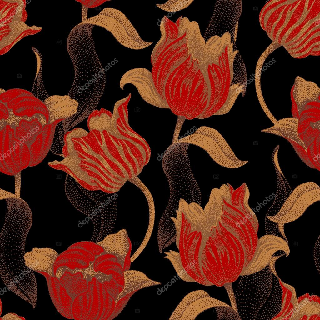 Seamless pattern with tulips flowers.