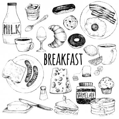 Doodle set of food for breakfast