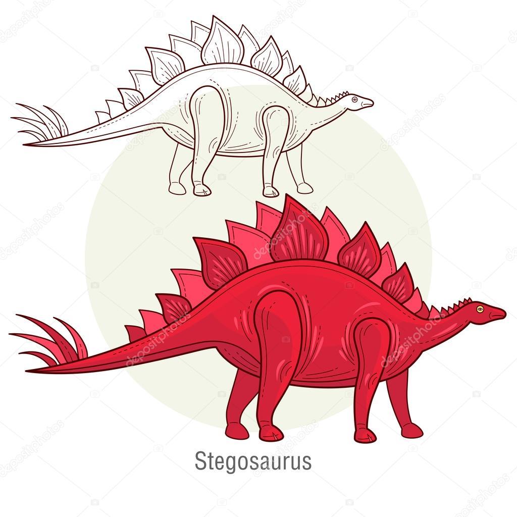 Vector image of a dinosaur - Stegosaurus.