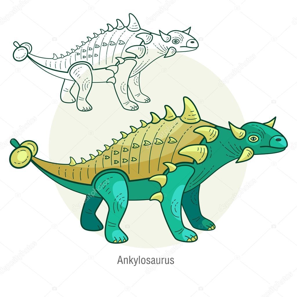 Vector image of a dinosaur - Ankylosaurus.