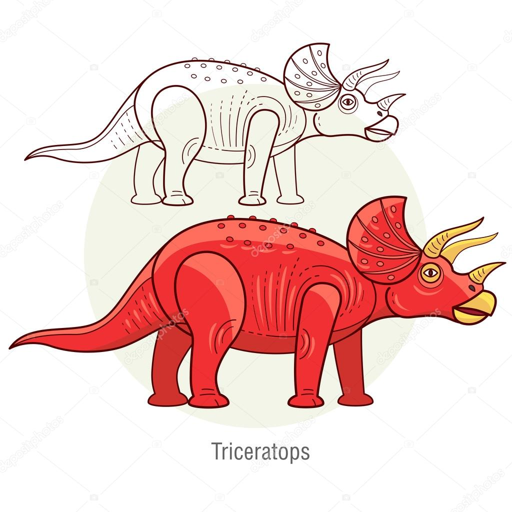 Vector image of a dinosaur - Triceratops.