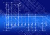Fotografie die technische Verbindung der Automatisierung-Equipmen Schema