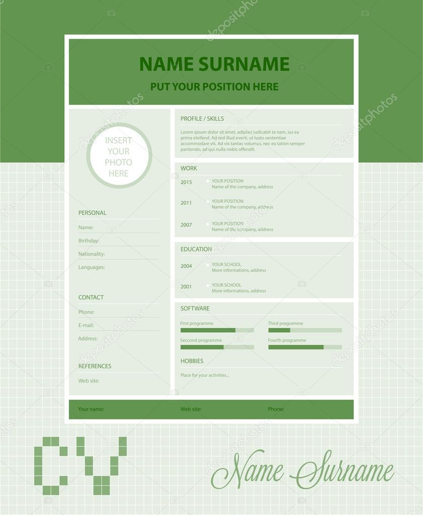 Plantilla de curriculum vitae simple Vector — Archivo Imágenes ...