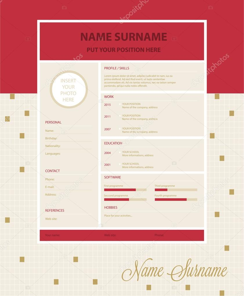 Vector simple resume template — Stock Vector © tomique #123341458