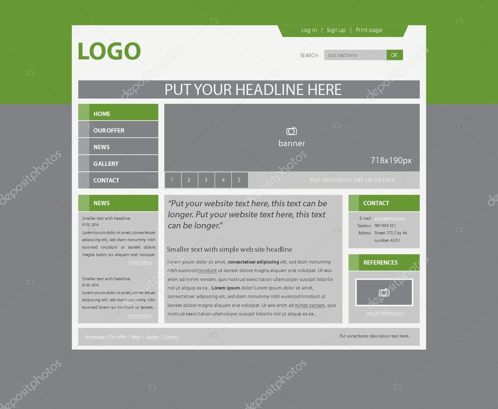 responsive web layout template for business or non-profit organi ...