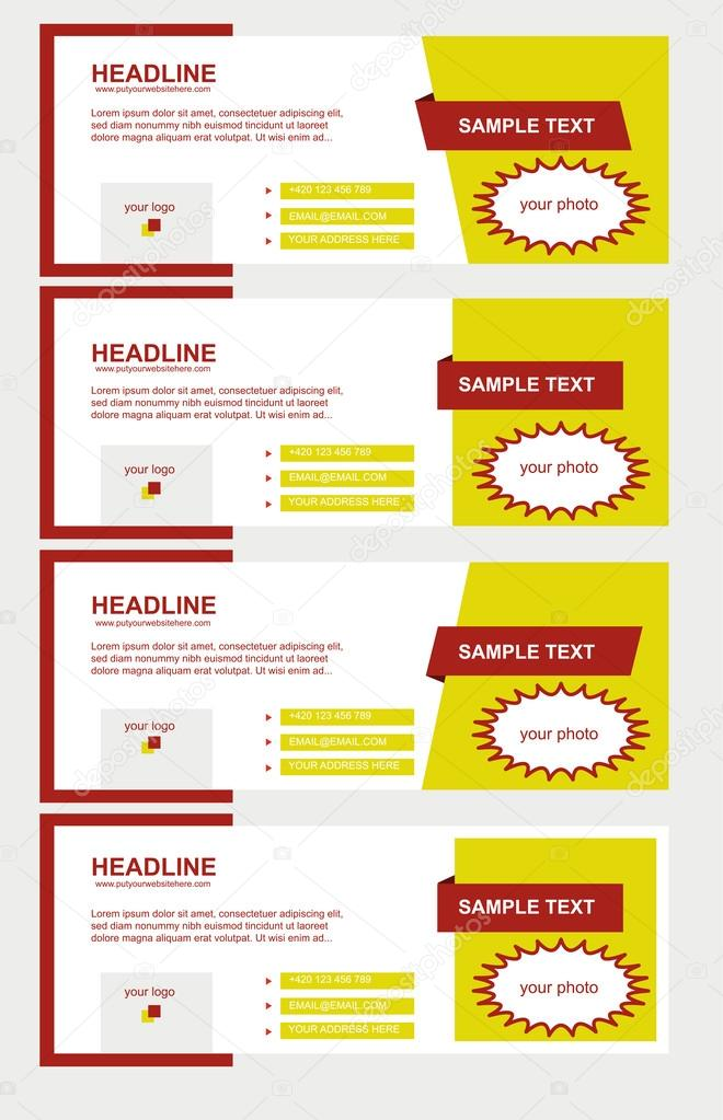 Vector set of facebook timeline yellow covers — Stock Vector ...