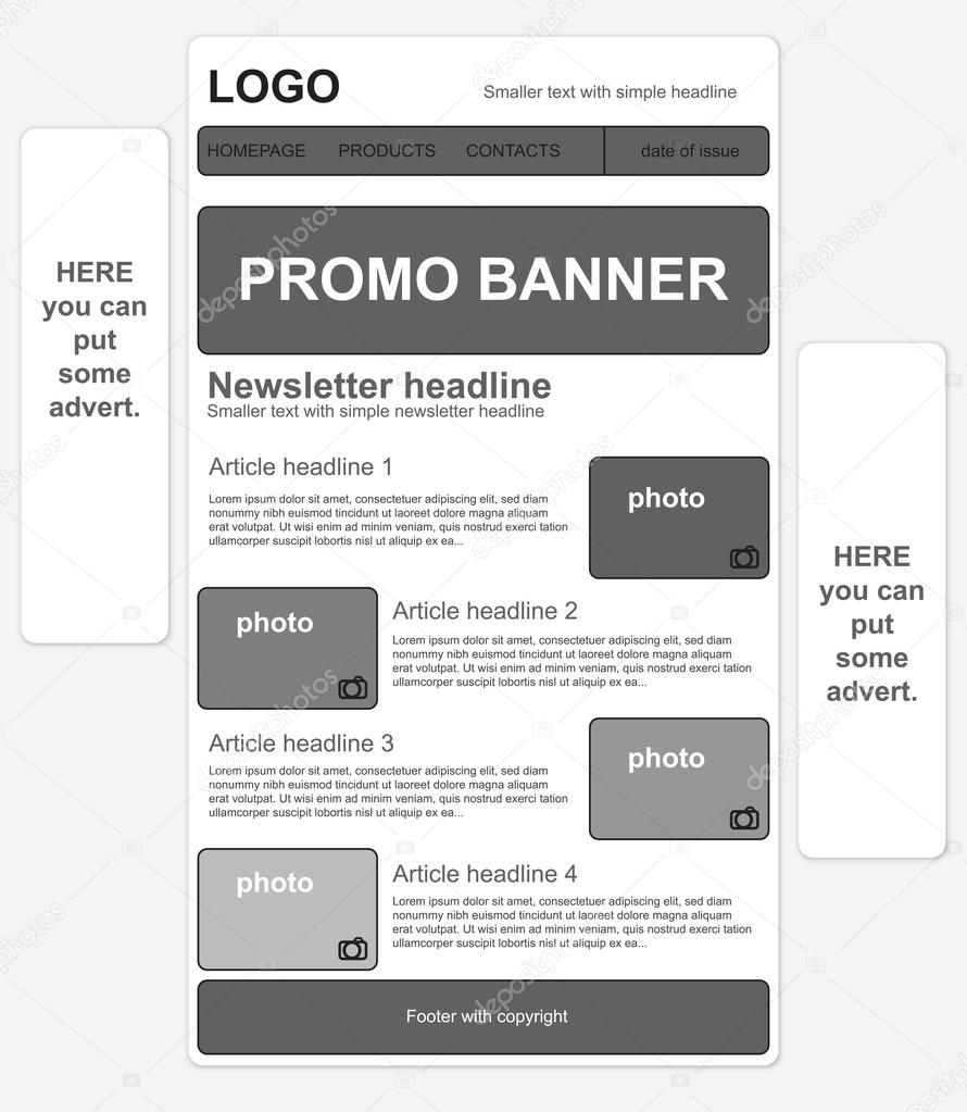 Responsive Newsletter Template With Banners Stock Vector Tomique