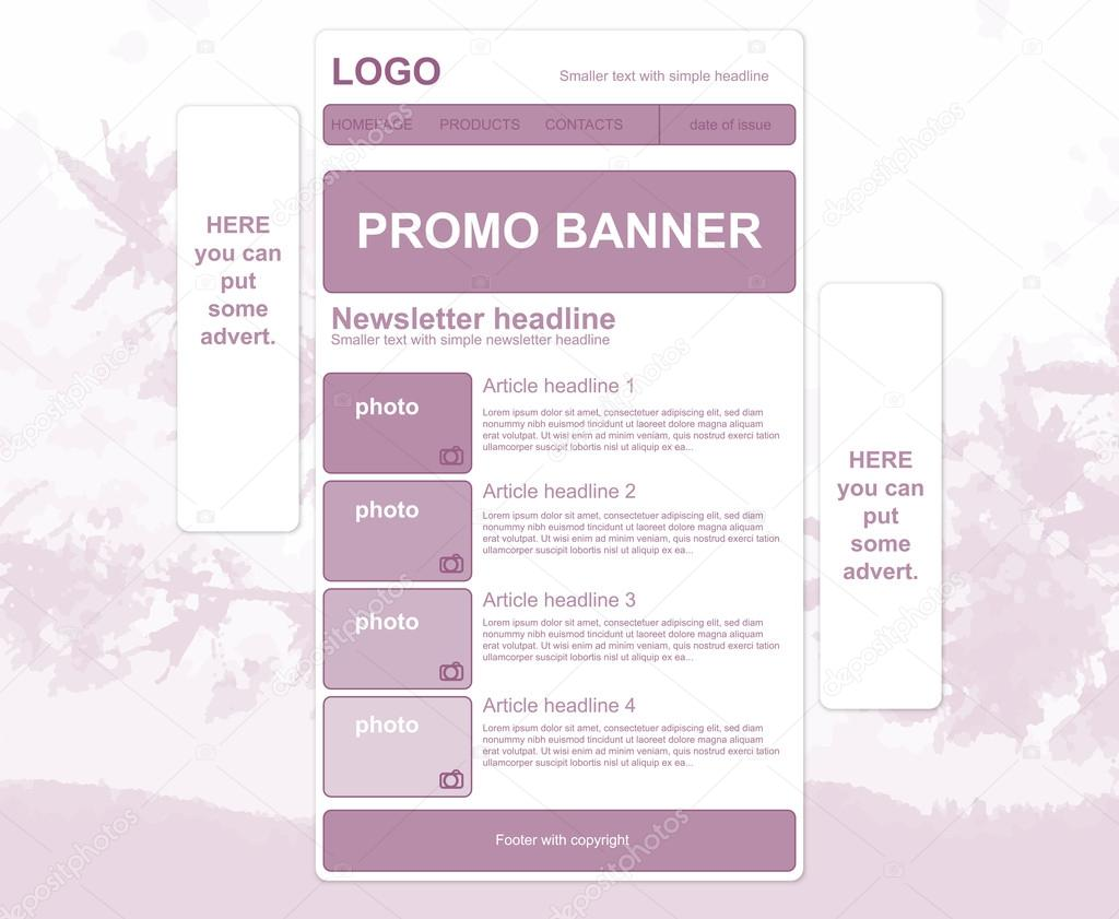 Responsive newsletter layout with promo banner and spring backgr
