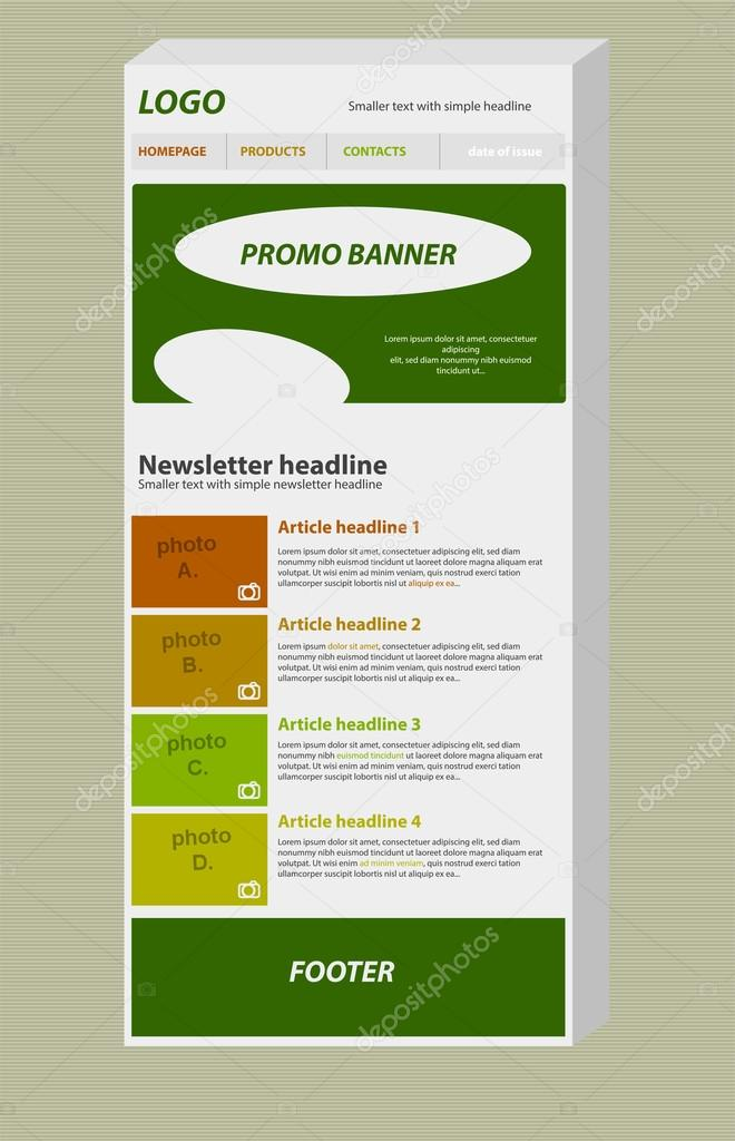 Responsive Newsletter Layout Template For Business Or Nonprofit - Newsletter outline template