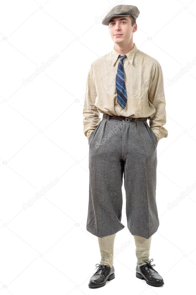 Junge Mann mit Kleidung und Mütze in der 20er Jahre Stil — Stockfoto ...