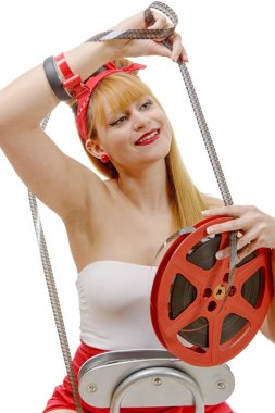 pretty girl smiling on retro style looks a 16mm film