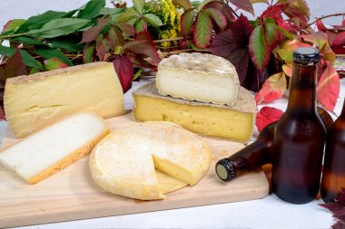 french cheese platter with bottles of beer
