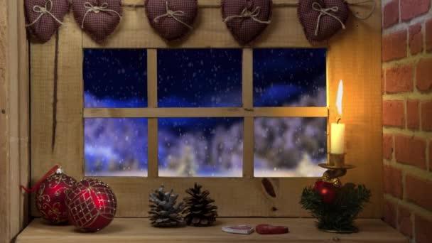 Ablak, esik a hó, és a Mikulás szán
