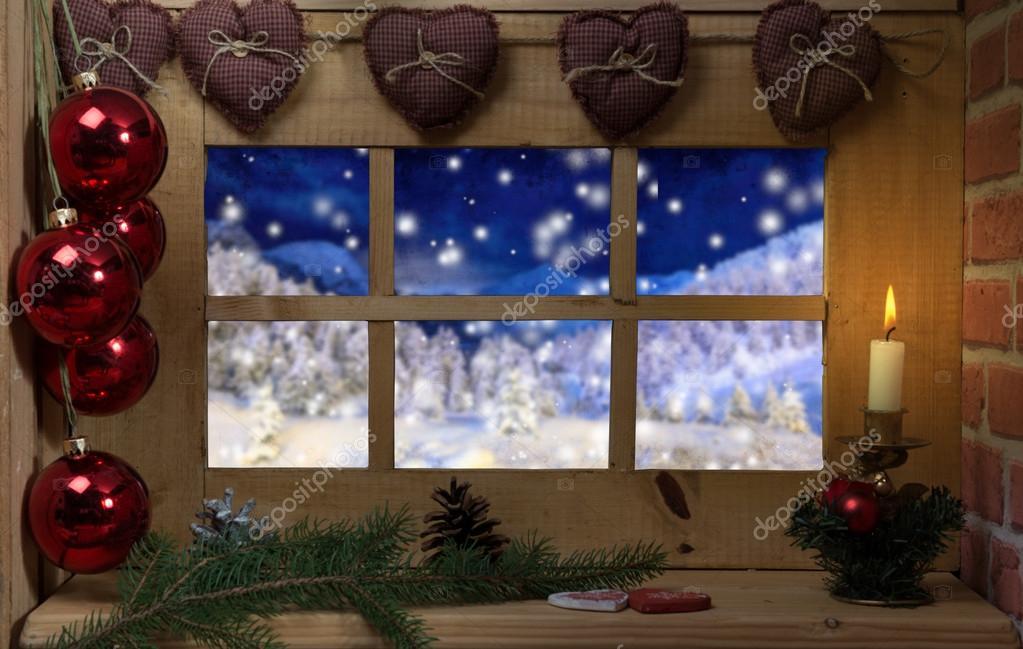 Fenster Dekoration Weihnachten Kerze Und Schnee Außerhalb