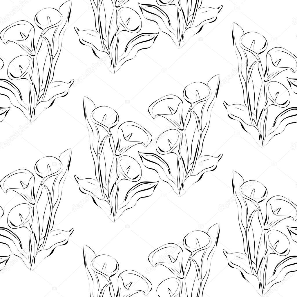Flores callas blancas y negras de patrones sin fisuras — Archivo ...
