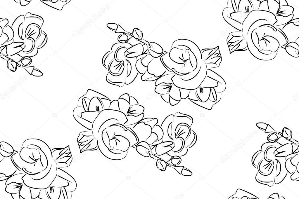 Flores de freesia blanco y negro de patrones sin fisuras — Vector de ...