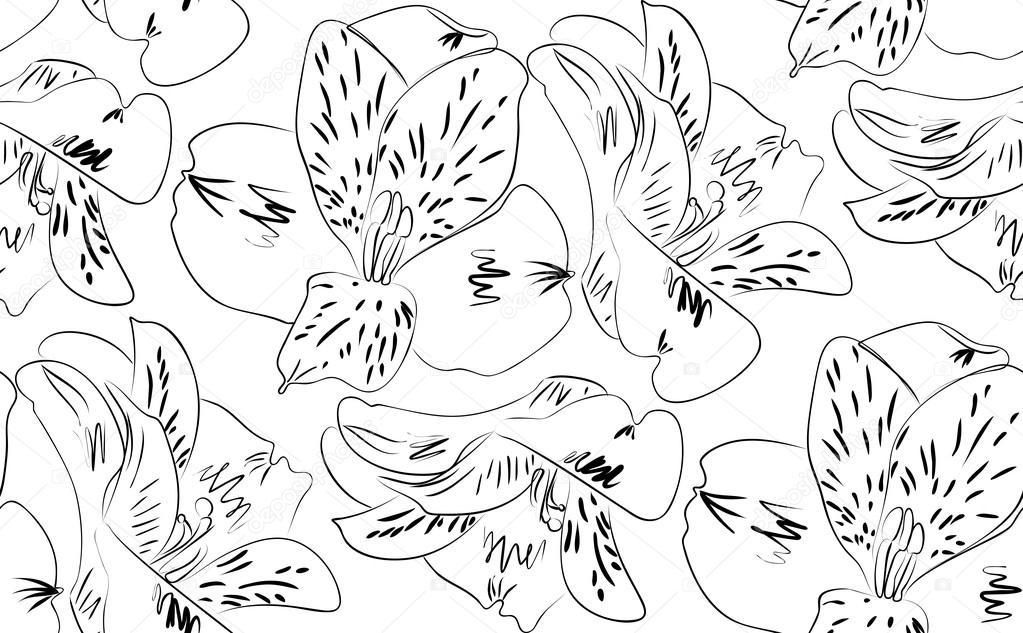 Flores de alstroemeria de patrones sin fisuras — Vector de stock ...
