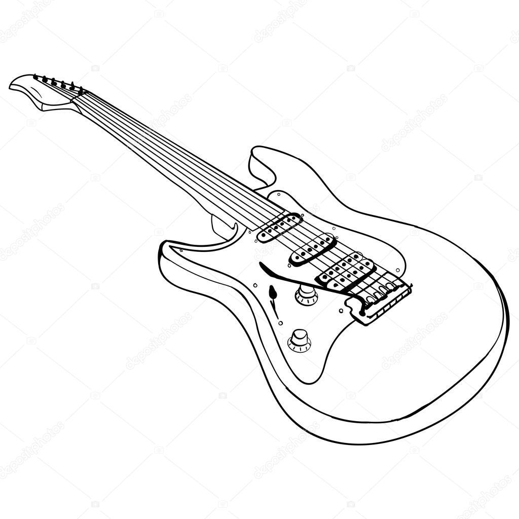 gitaar ink schets vector stockvector 169 tiverets 124032126