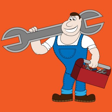 Cartoon mechanic holding a huge wrench.