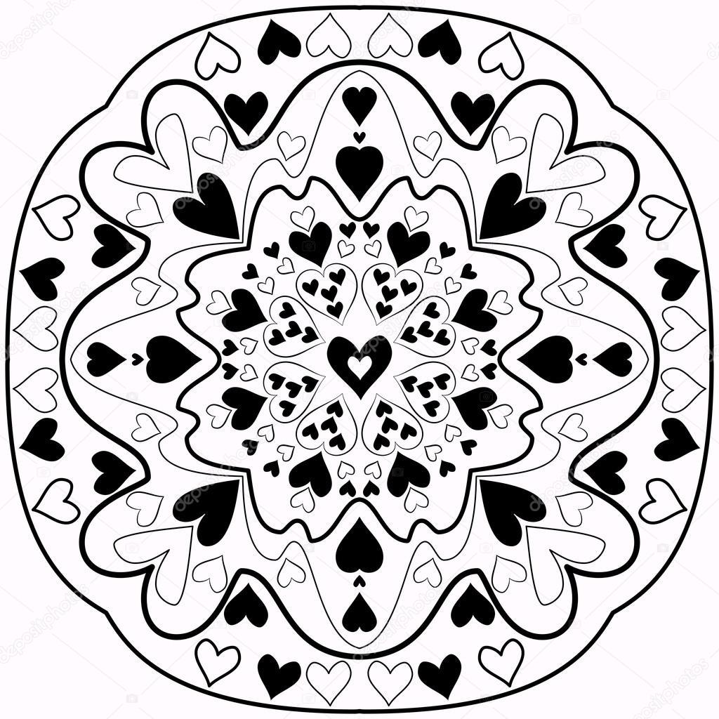 Mandala de corazón de Zentangle abstracto blanco y negro — Vector de ...