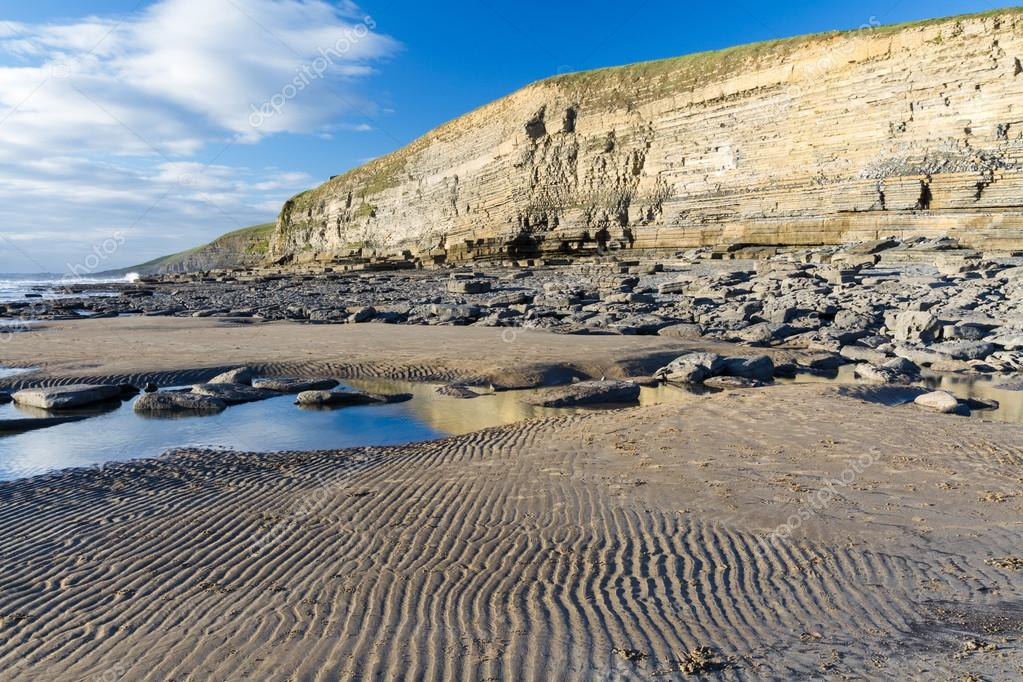 Dunraven Bay, or Southerndown beach, with limestone cliffs.