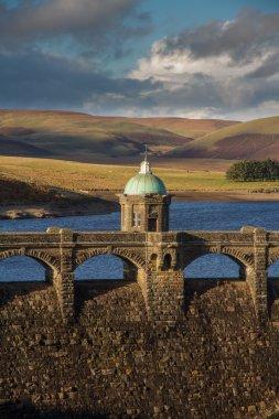 Craig Goch Dam and reservoir evening light, fall autumn.