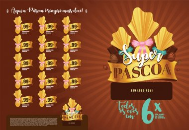 Brazilian Easter Layout. Pascoa Sale Brochure. Text Saying Super Easter and Easter Here is Always Sweeter. Colorful Eggs Composition. Packed Chocolate Eggs. Brazilian Easter Design. icon