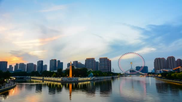 Time lapse cityscape of Tianjin ferris wheel,Tianjin eyes in twilight time.The Most Modern and popular landmark in Tianjin city.