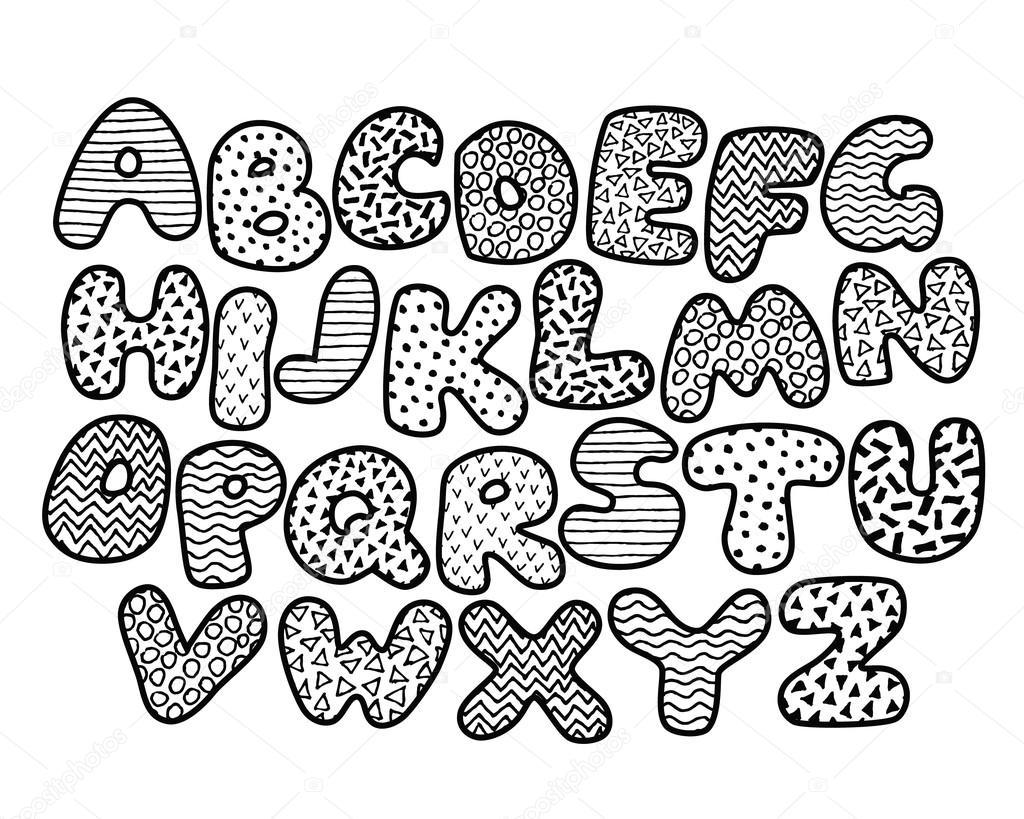 Grappige alfabet kleurplaat Stockvector