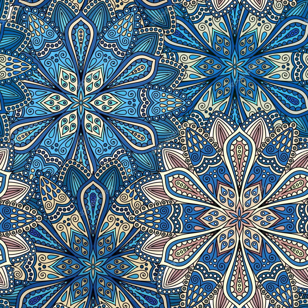 Patrón de intrincada flor azul y Beige — Vector de stock ...