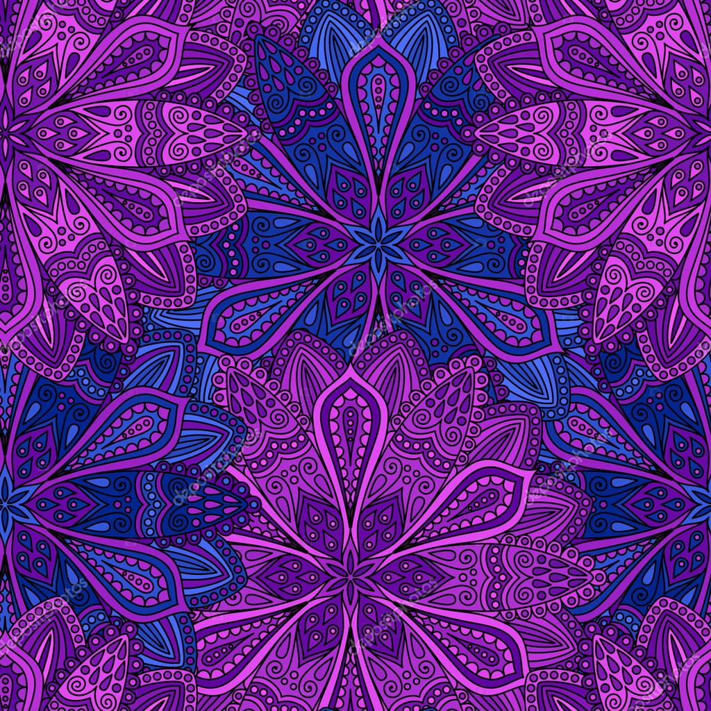 Intricate Blue And Purple Flower Pattern Stock Vector
