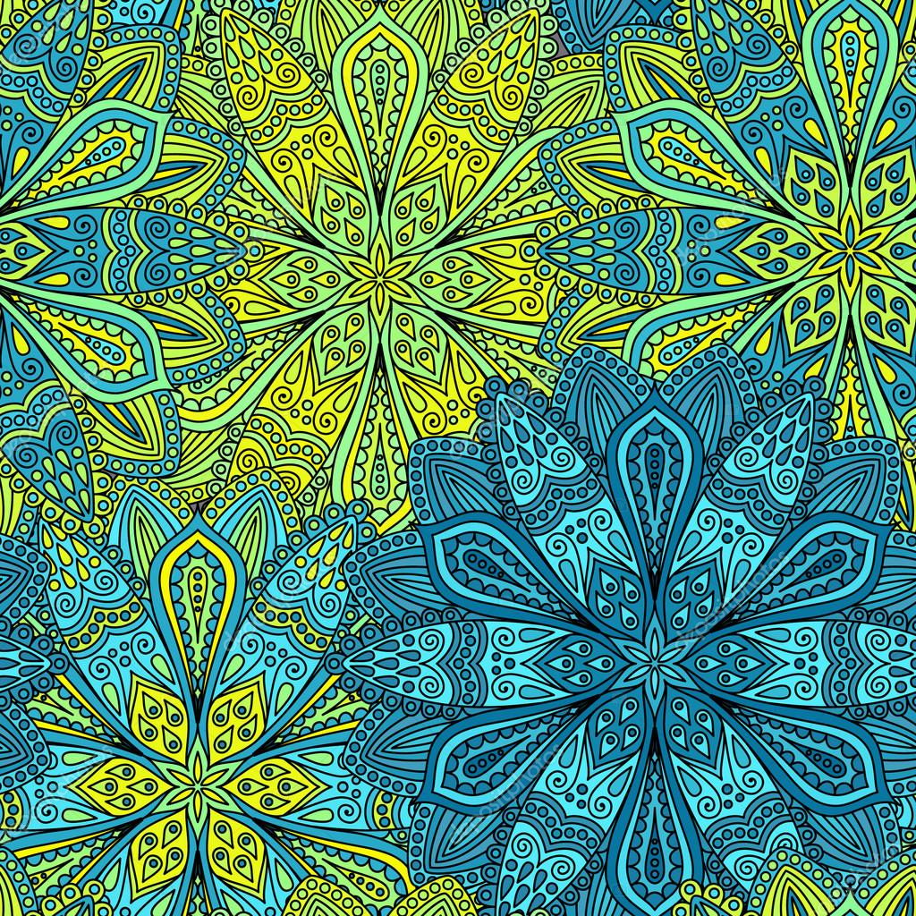 Patrón de intrincada flor azul y amarillo — Vector de stock ...