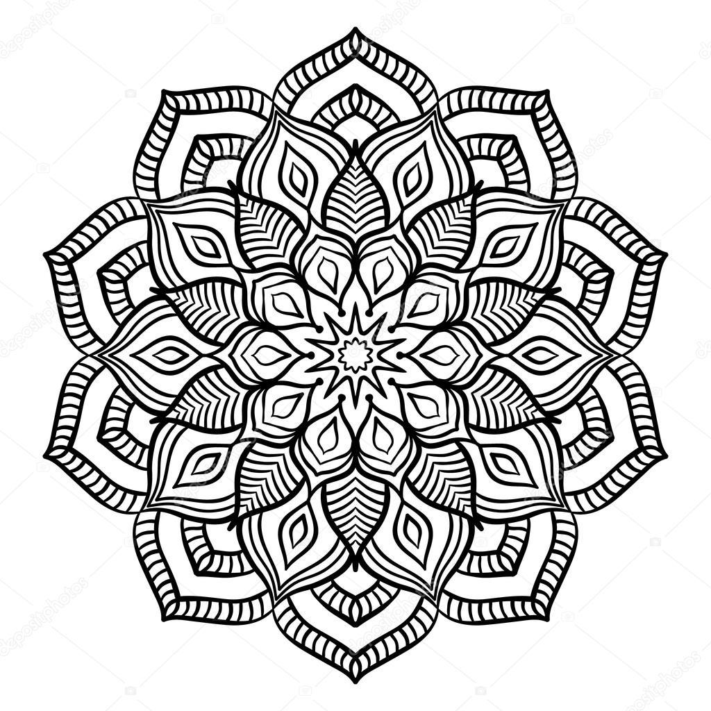 Página para colorear de Mandala negro — Vector de stock © amovitania ...
