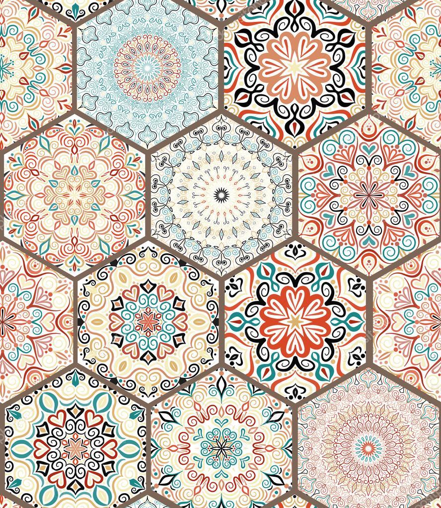 rich-hexagon-fliese-ornament — stockvektor © amovitania #109150730