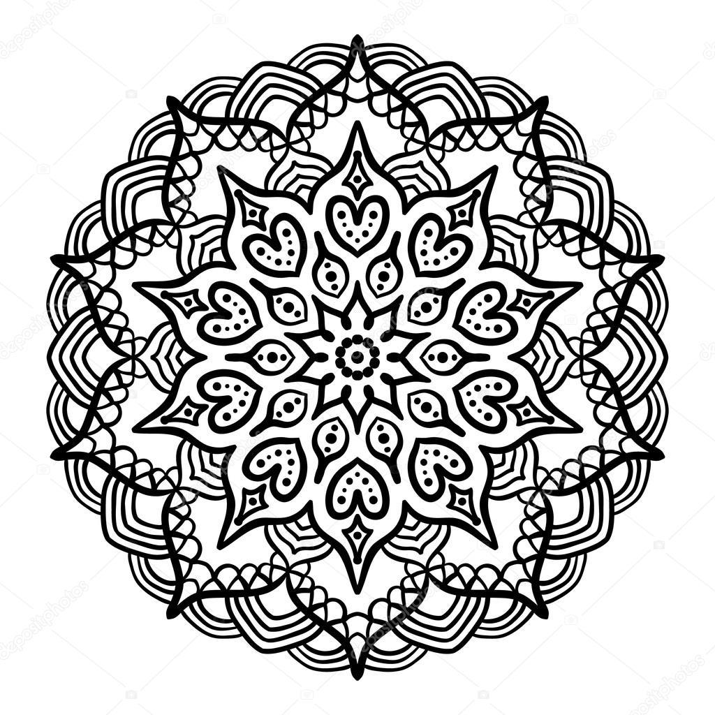Mandala negro para colorear — Vector de stock © amovitania #109250572