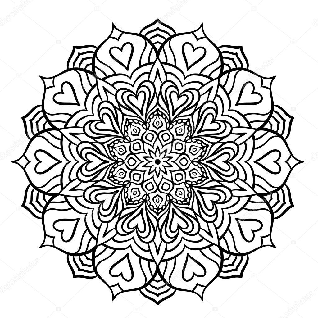 Mandala noir avec coeurs — Image vectorielle amovitania © #109255434