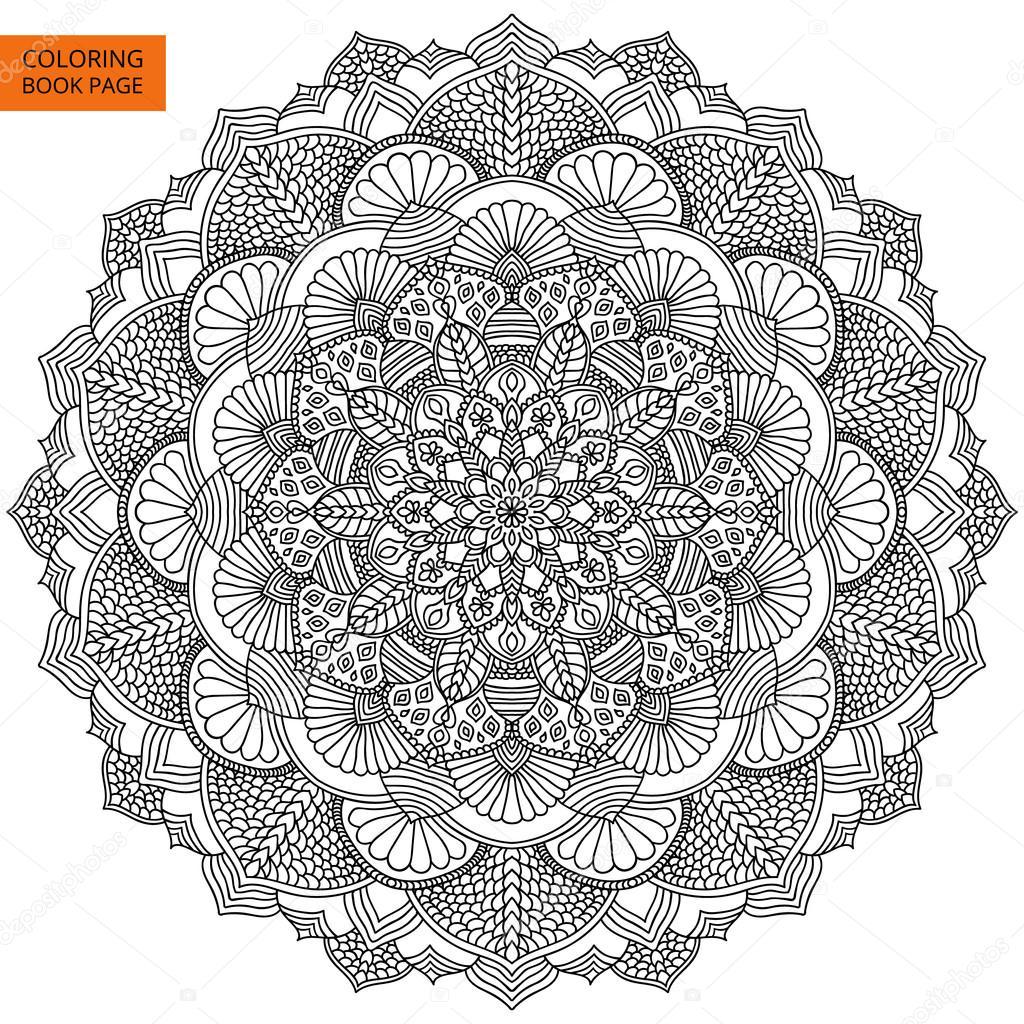 Intrincado Mandala negro para colorear libro — Archivo Imágenes ...