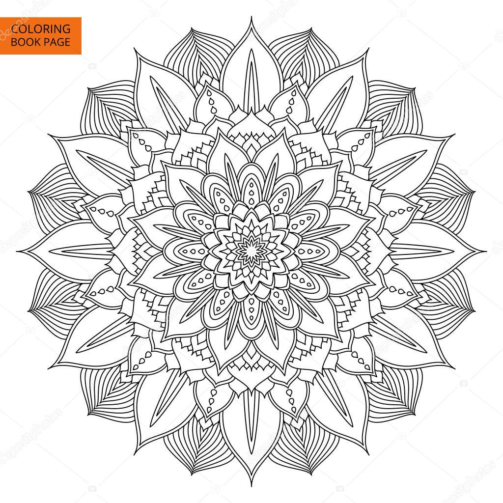 Mandala negro flor para colorear libro — Vector de stock ...