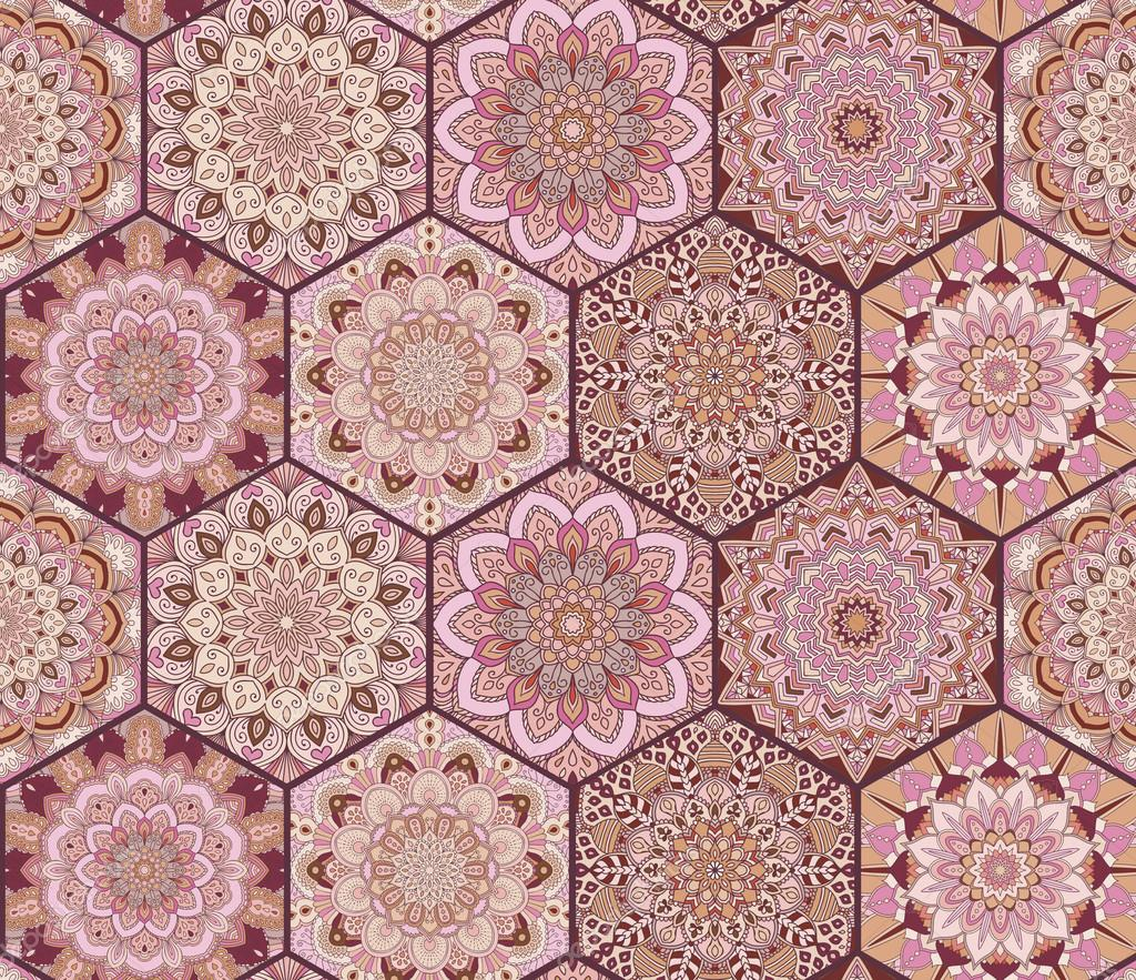 Tiles Pattern Pink Brown Hexagons Stock Vector C Amovitania 120213470
